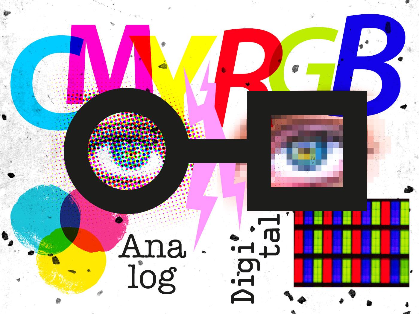 Auf dem Bild ist das neue Logo des BKGD der Gewerblichen Schule Lahr zu sehen. Das Bild zeigt eine Collage, dass sich mit den Themen Druck und Digital bzw. mit dem Unterschied zwischen CMYK und RGB beschäftigt. Teile der Collage wurden aus Bildern von Luca Iaconelli, Michael Maasen on Unsplash.com verwendet.